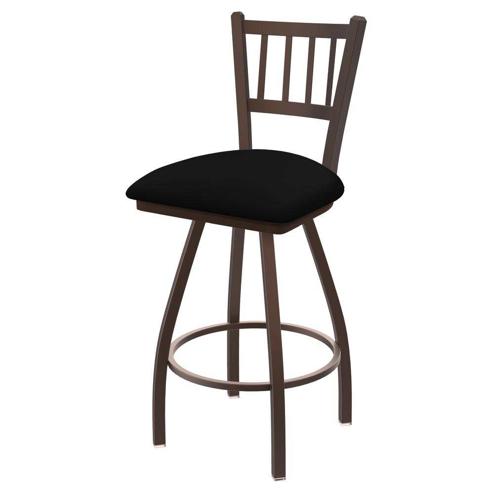 """810 Contessa 36"""" Swivel Bar Stool with Bronze Finish and Black Vinyl Seat. Picture 1"""