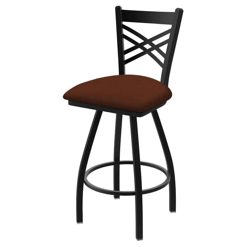 "820 Catalina 36"" Swivel Bar Stool with Black Wrinkle Finish and Rein Adobe Seat. Picture 1"