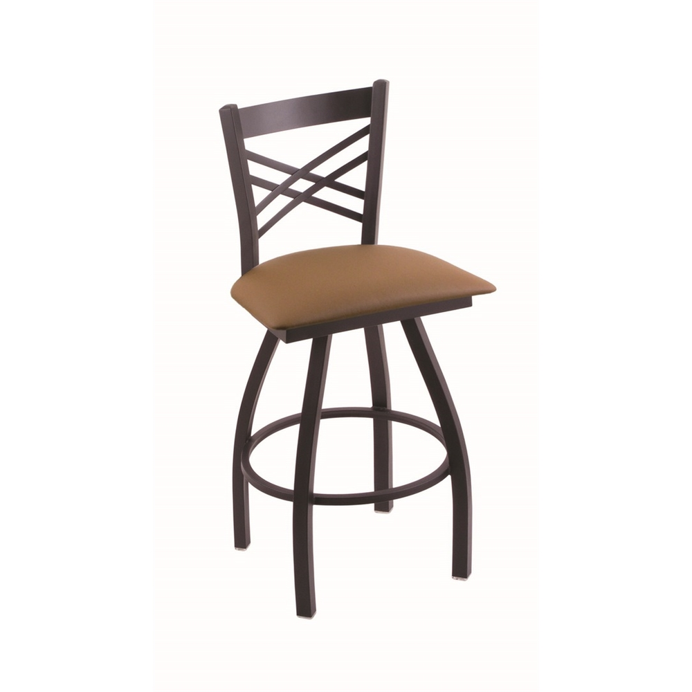 "XL 820 Catalina 25"" Swivel Counter Stool with Black Wrinkle Finish and Canter Thatch Seat. Picture 1"