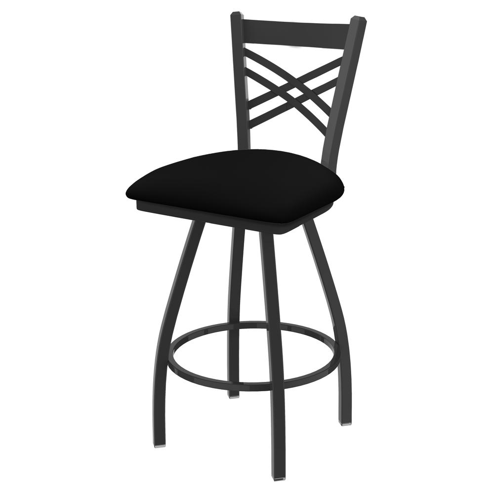 """820 Catalina 36"""" Swivel Bar Stool with Pewter Finish and Black Vinyl Seat. Picture 1"""