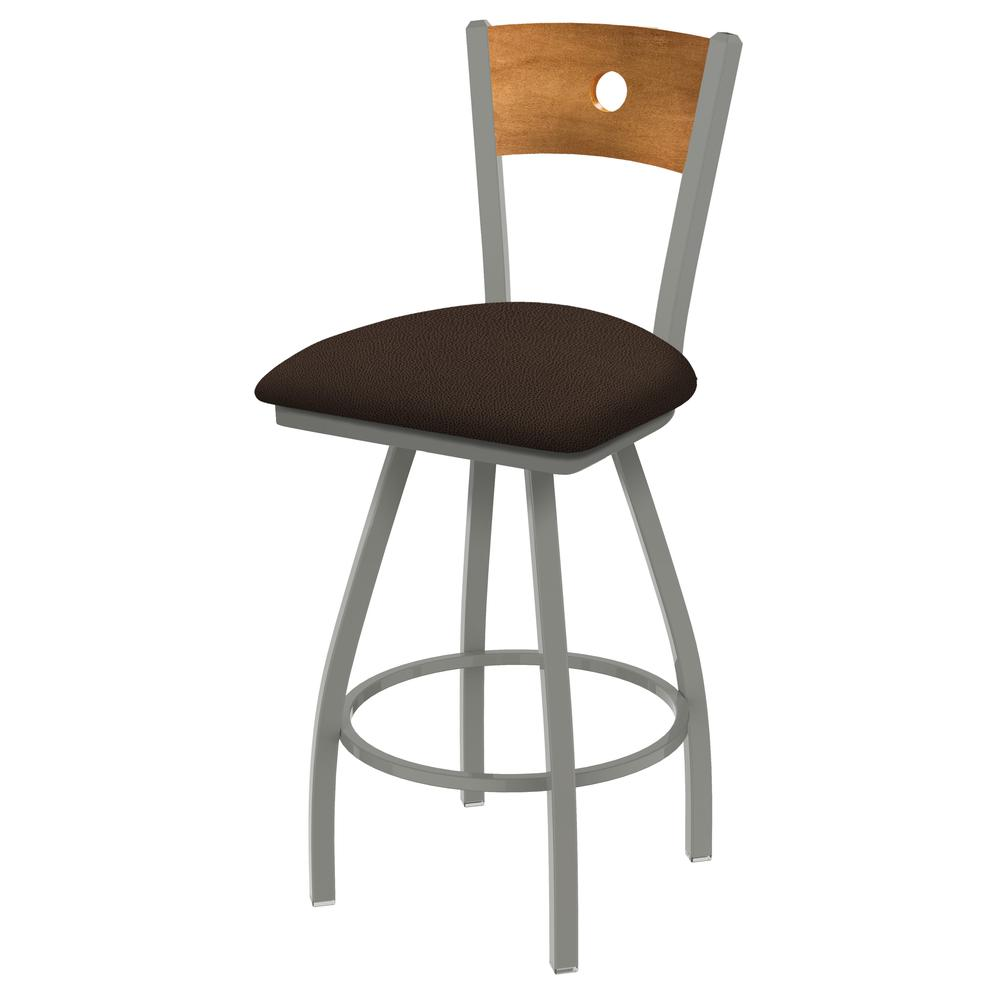 "830 Voltaire 36"" Swivel Counter Stool with Anodized Nickel Finish, Medium Back, and Rein Coffee Seat. Picture 1"
