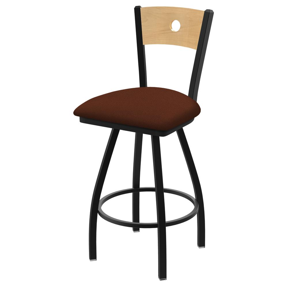 """830 Voltaire 36"""" Swivel Counter Stool with Black Wrinkle Finish, Natural Back, and Rein Adobe Seat. Picture 1"""