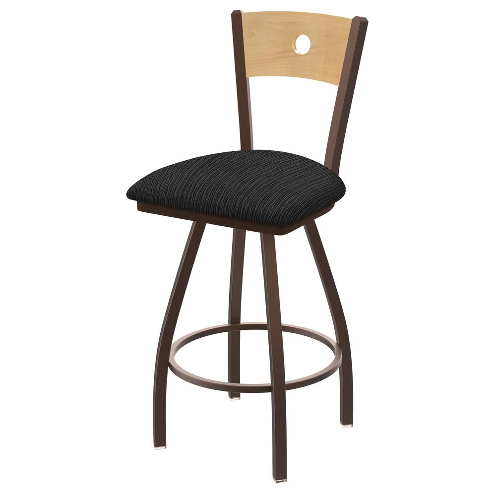 """830 Voltaire 36"""" Swivel Counter Stool with Bronze Finish, Natural Back, and Graph Coal Seat. Picture 1"""