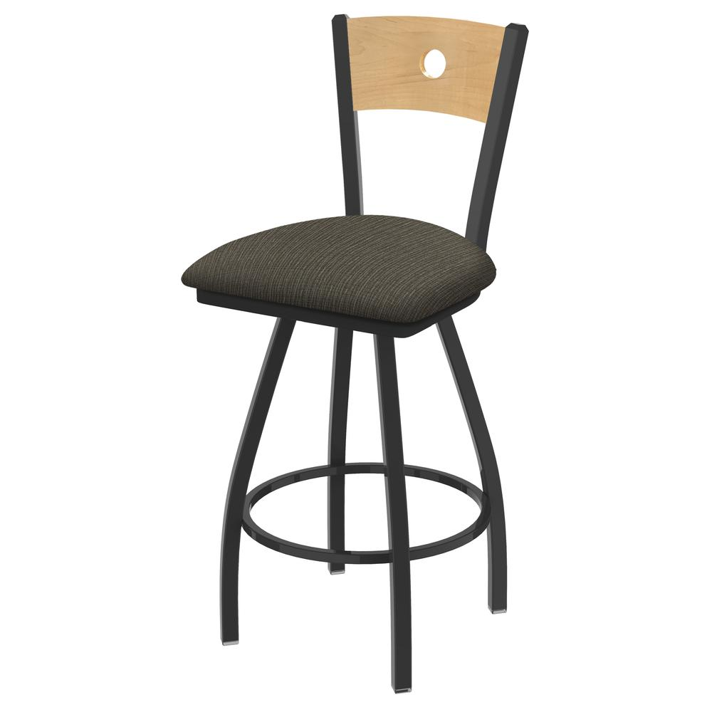 """830 Voltaire 36"""" Swivel Counter Stool with Pewter Finish, Natural Back, and Graph Chalice Seat. Picture 1"""