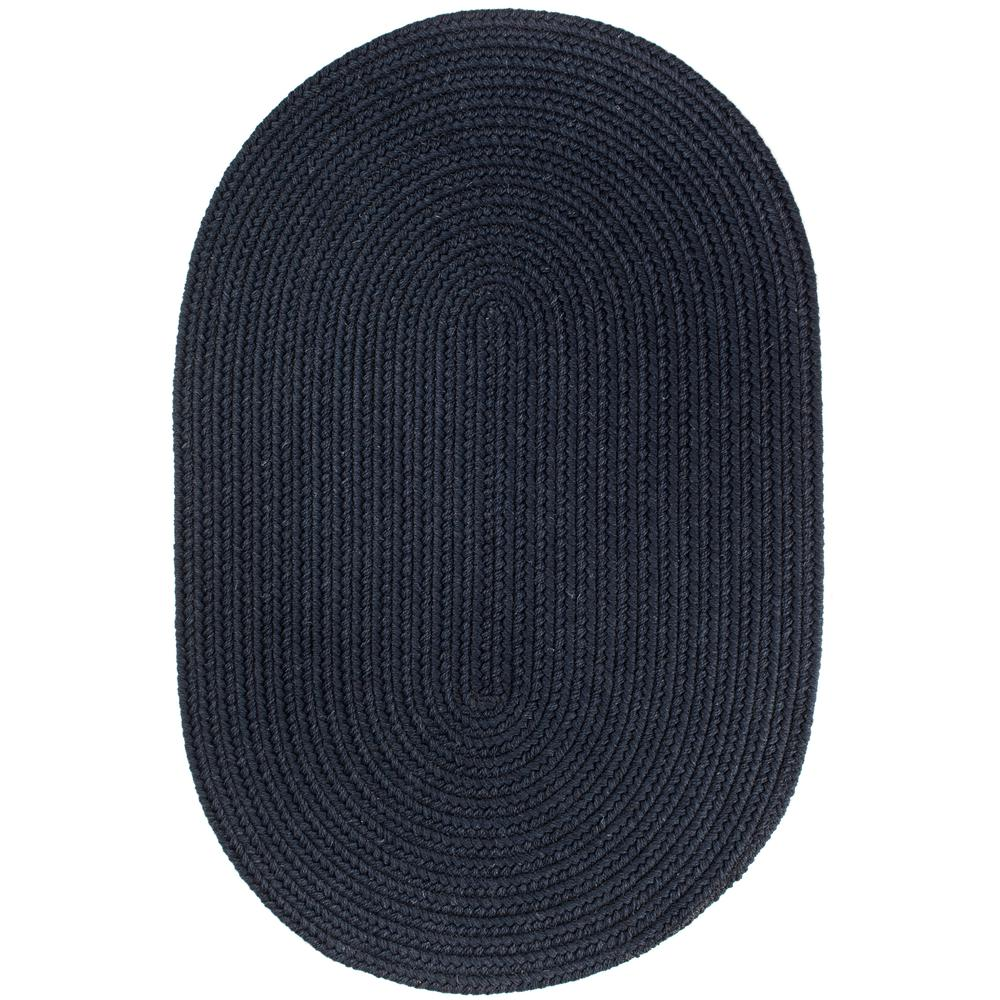 Solid Navy Wool 2x4 Oval