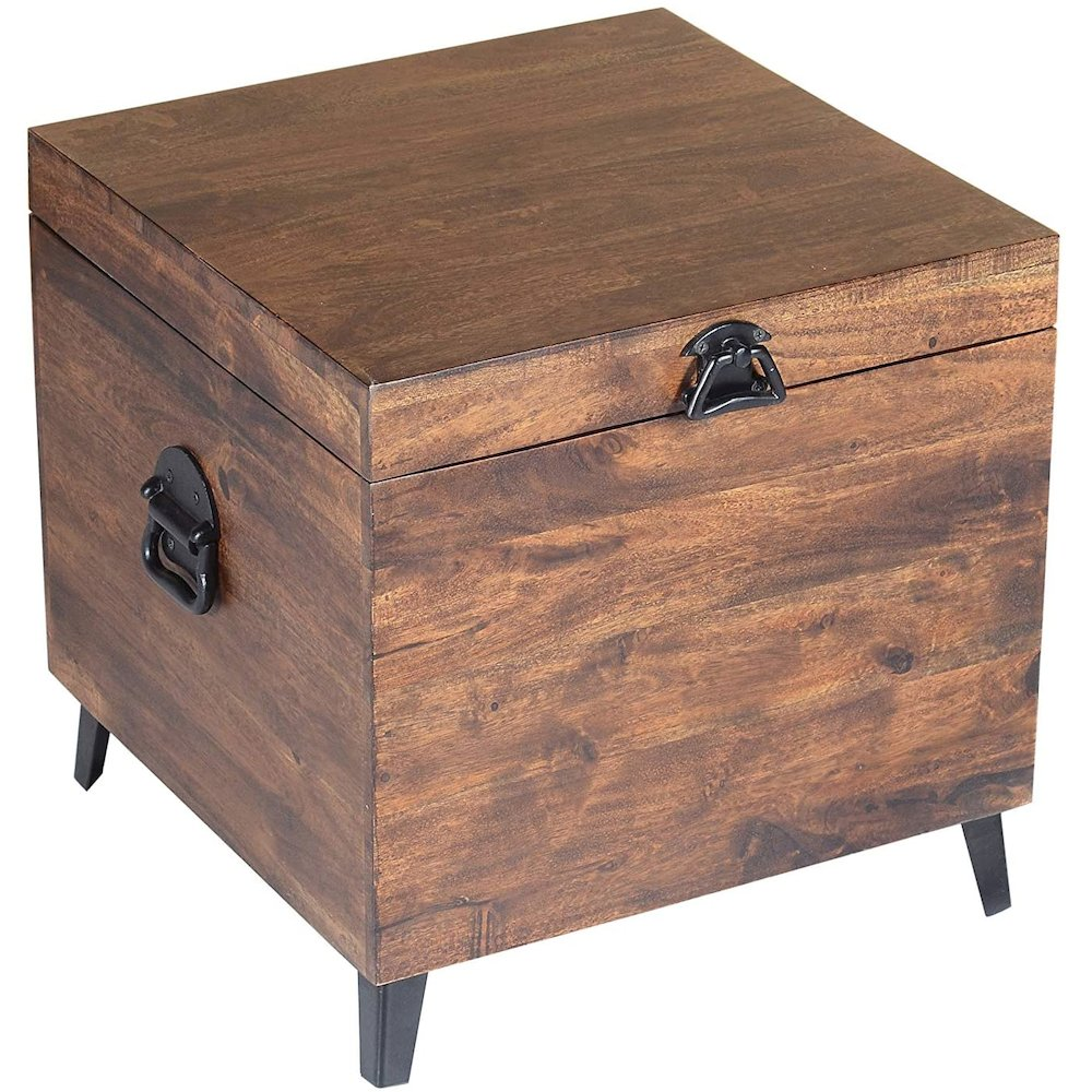 Landon Solid Acacia Hardwood 18'' Storage Trunk Chest, Chestnut. Picture 3