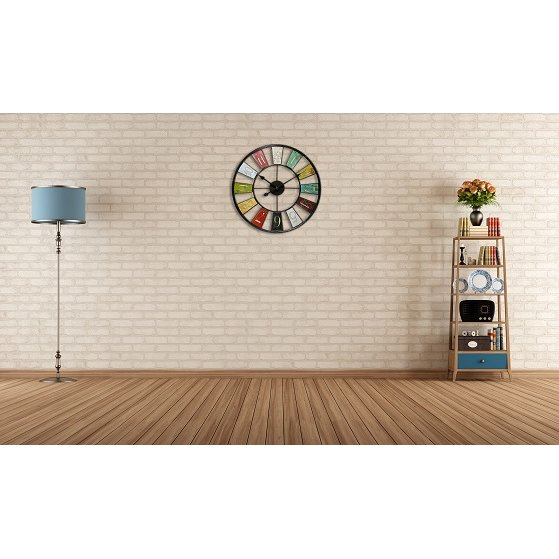 24 in Round Wall Clock, Multicolored Finish Case, Open Face. Picture 2