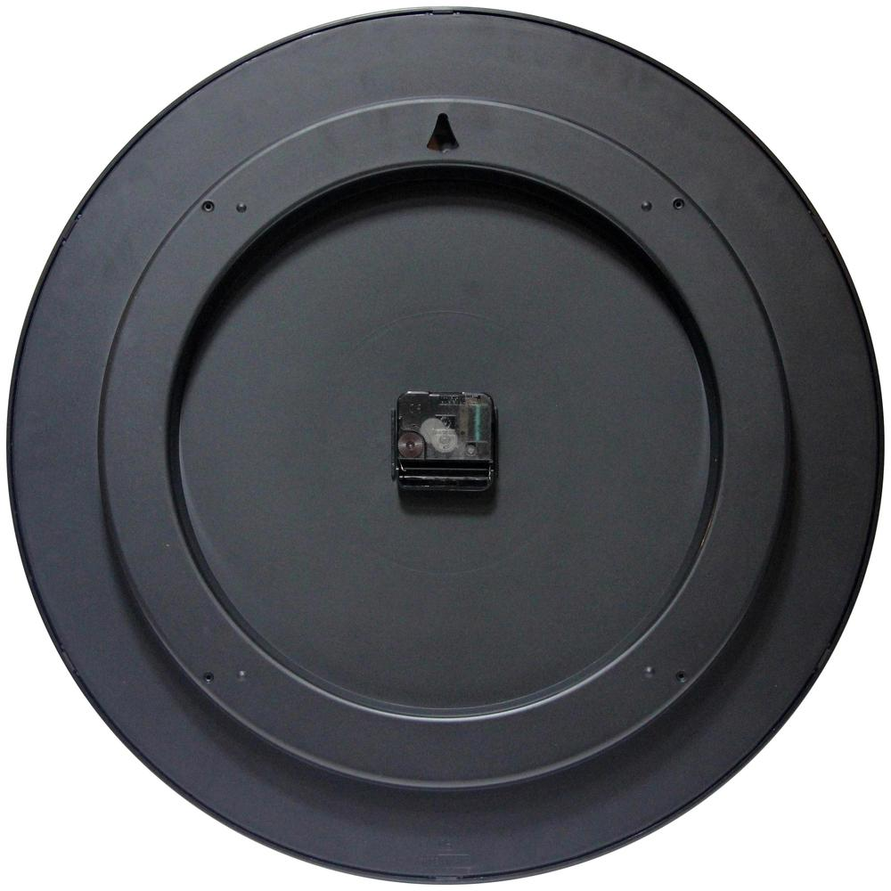 20 in Round Wall Clock, Black Finish Case, Shatter-Resistant Lens. Picture 2