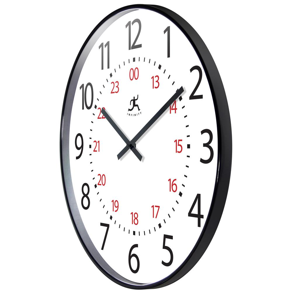 20 in Round Wall Clock, Black Finish Case, Shatter-Resistant Lens. Picture 4