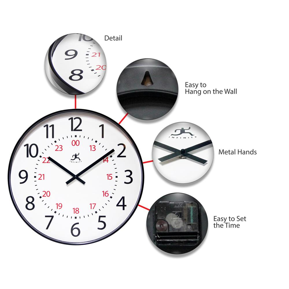 20 in Round Wall Clock, Black Finish Case, Shatter-Resistant Lens. Picture 6