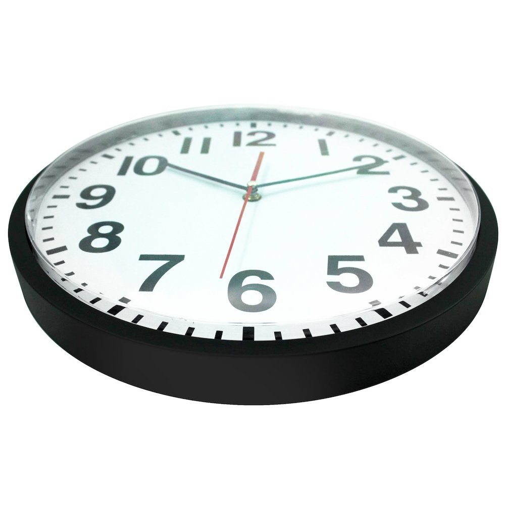 13 In Round Wall Clock Black Finish Case Shatter