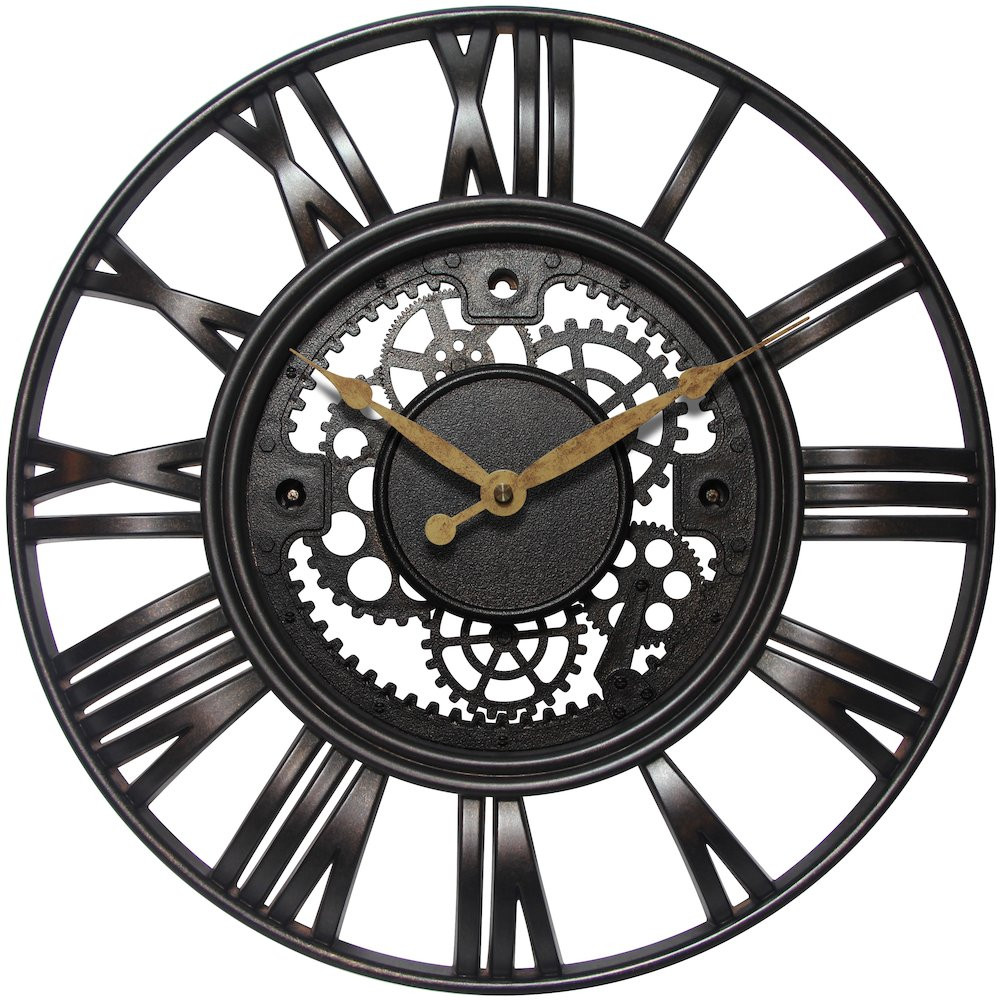 15 in Round Wall Clock, Rust Finish Case, Open Face. Picture 2