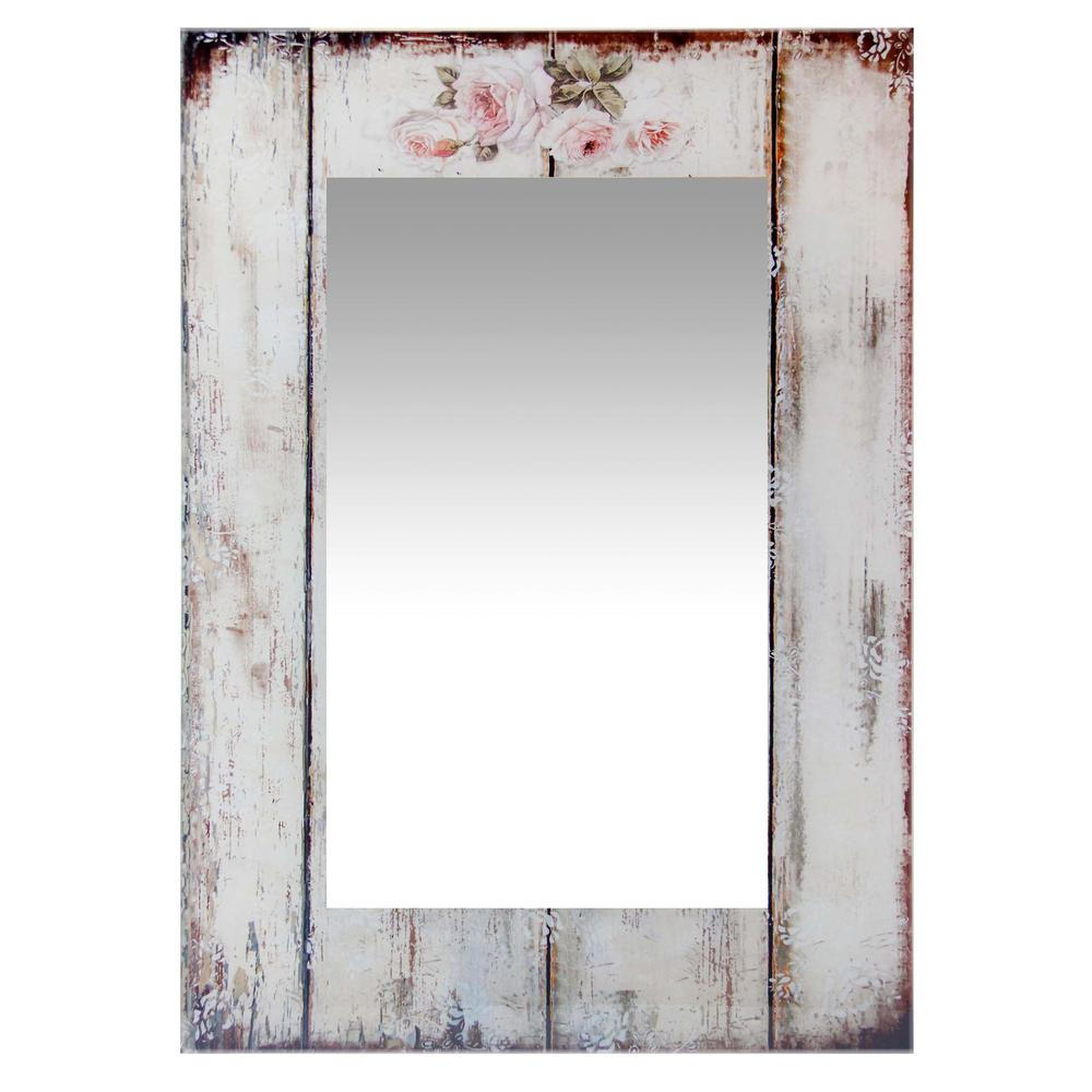 27.5 in Decorative Rectangle Wall Mirror, with Antique White Frame. Picture 1