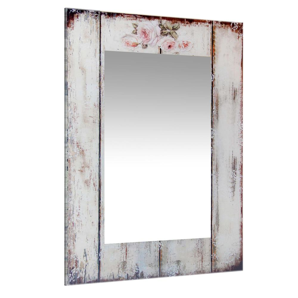 27.5 in Decorative Rectangle Wall Mirror, with Antique White Frame. Picture 2