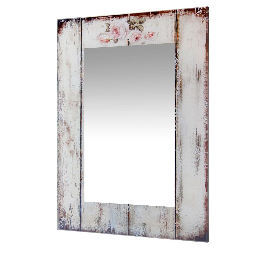 27.5 in Decorative Rectangle Wall Mirror, with Antique White Frame. Picture 3