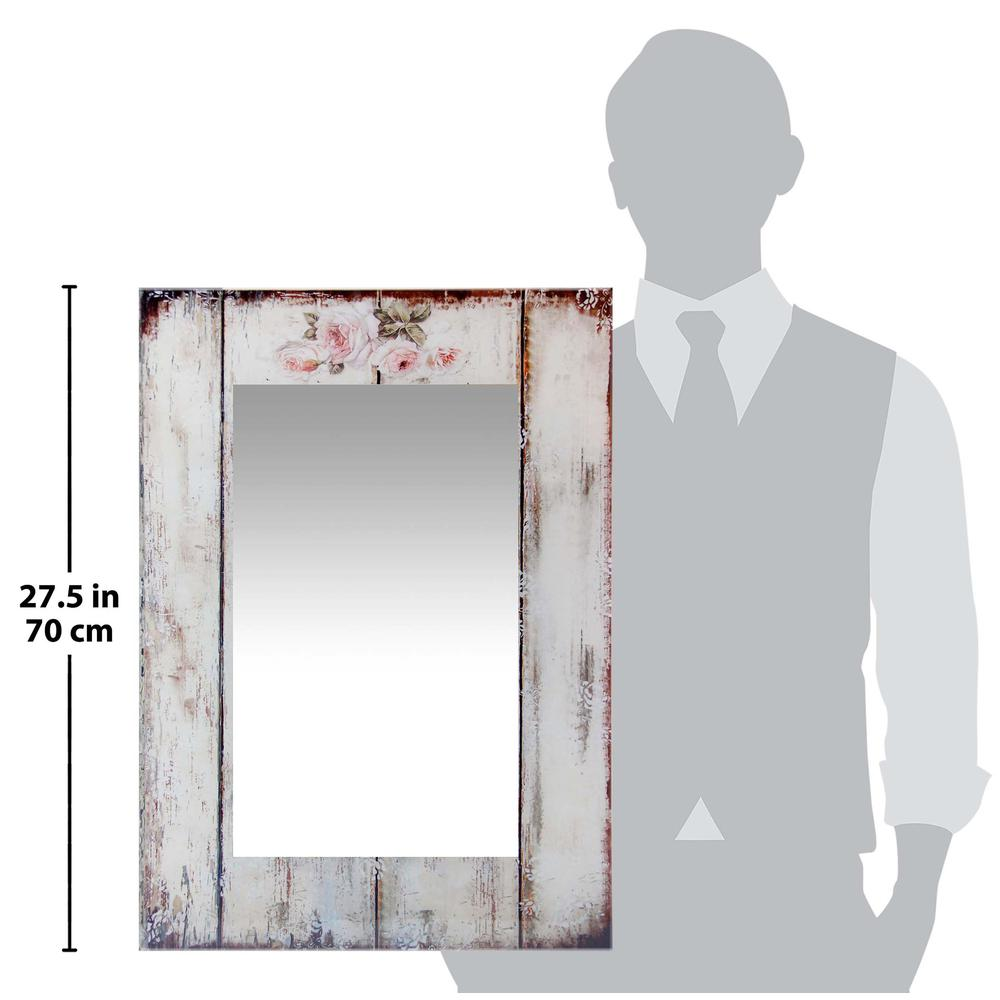 27.5 in Decorative Rectangle Wall Mirror, with Antique White Frame. Picture 4