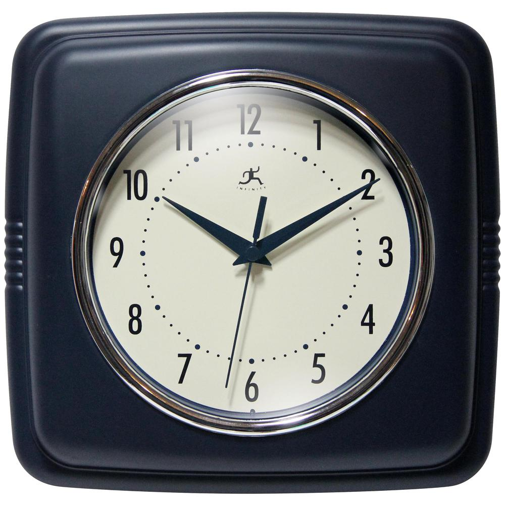 9.25 in Square Wall Clock, Blue Finish Case, Glass Lens, Second Hand, Silent Movement. Picture 1