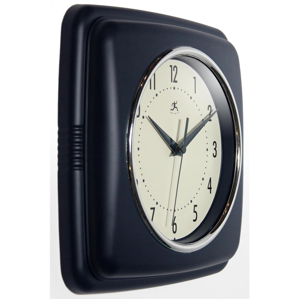 9.25 in Square Wall Clock, Blue Finish Case, Glass Lens, Second Hand, Silent Movement. Picture 3