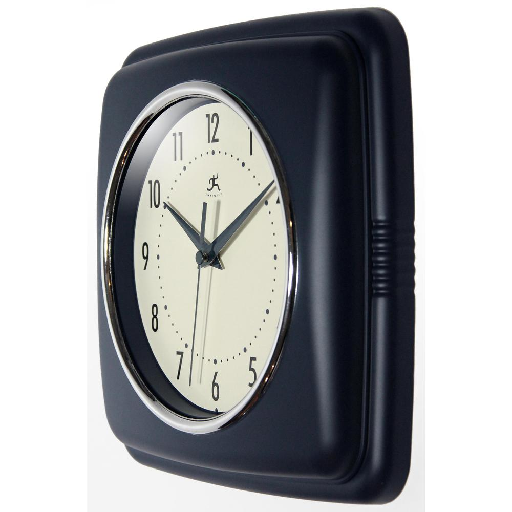 9.25 in Square Wall Clock, Blue Finish Case, Glass Lens, Second Hand, Silent Movement. Picture 4