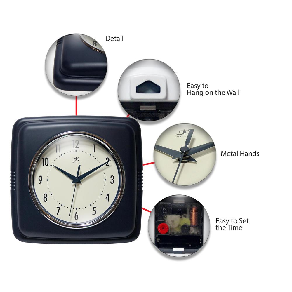 9.25 in Square Wall Clock, Blue Finish Case, Glass Lens, Second Hand, Silent Movement. Picture 6