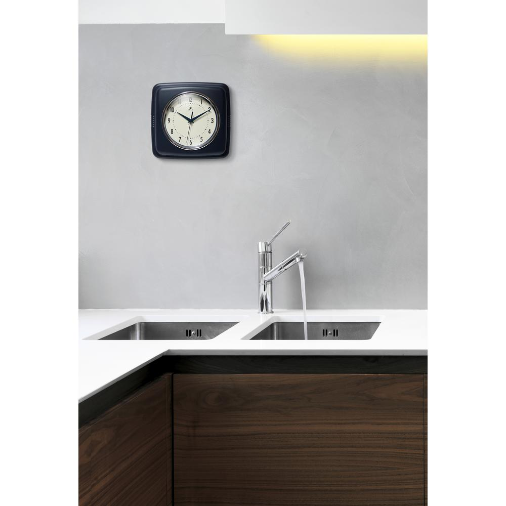 9.25 in Square Wall Clock, Blue Finish Case, Glass Lens, Second Hand, Silent Movement. Picture 7