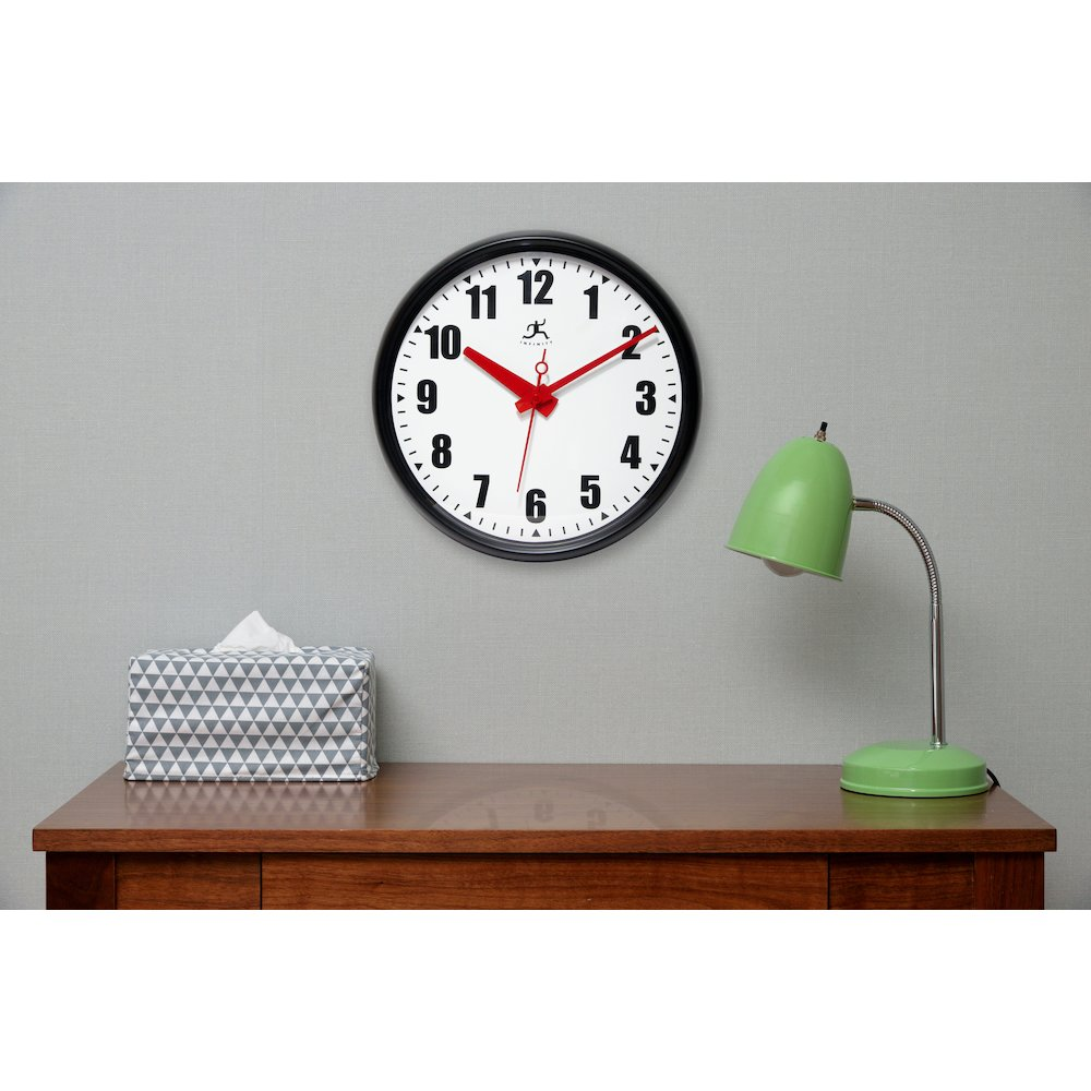 15 in Round Wall Clock, Black Finish Case, Glass Lens ...