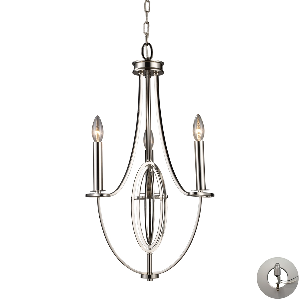 Dione 3 Light Chandelier In Polished Nickel - Includes Recessed Lighting Kit. Picture 1