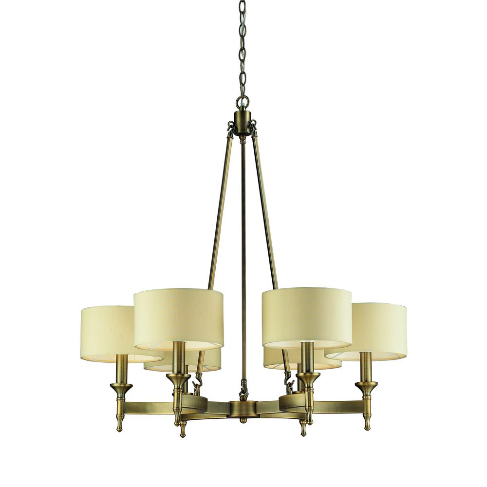 Pembroke 6 Light Chandelier In Brushed Antique Brass. Picture 1