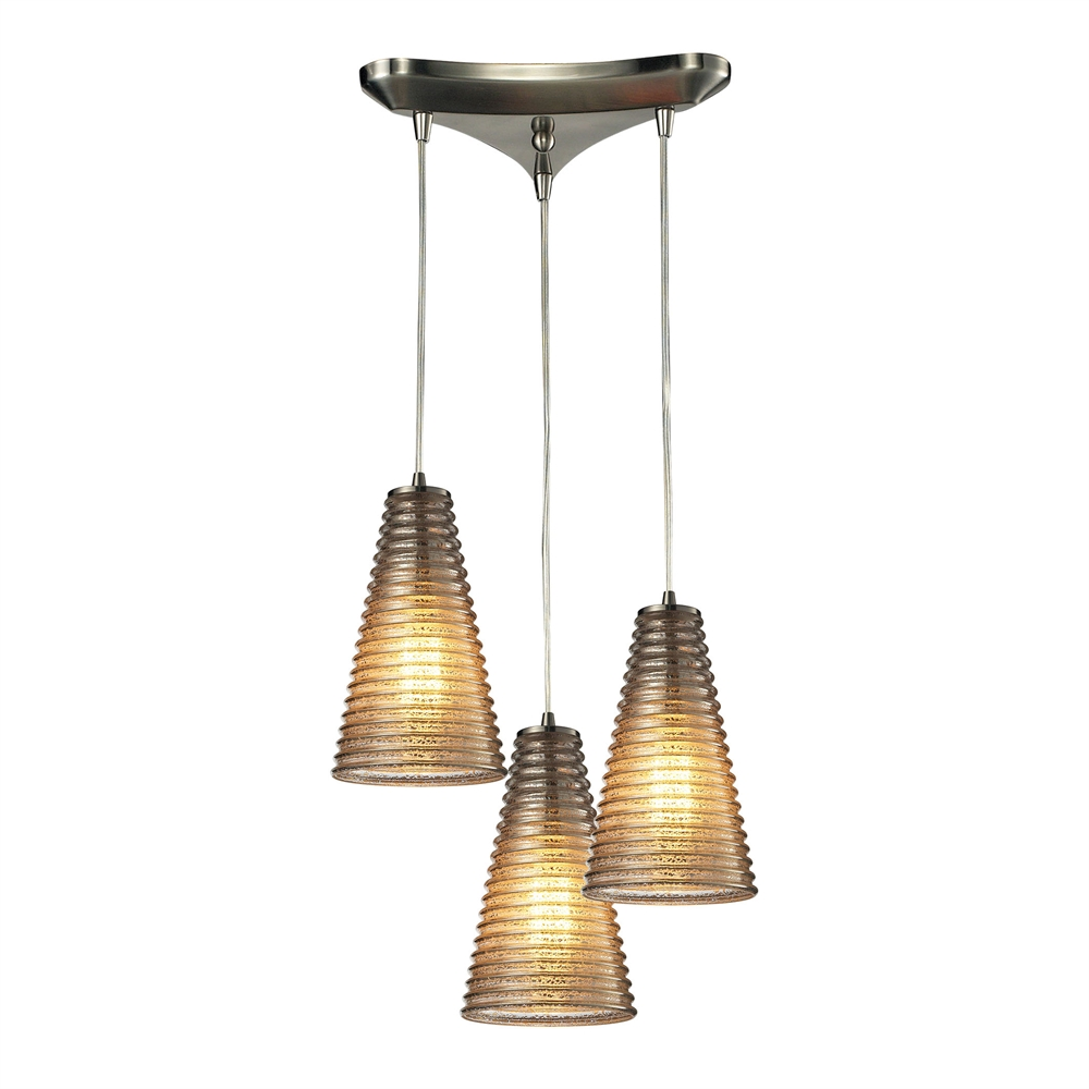 Ribbed Glass 3 Light Pendant In Satin Nickel And Mercury Glass, 10333 3. Picture 1