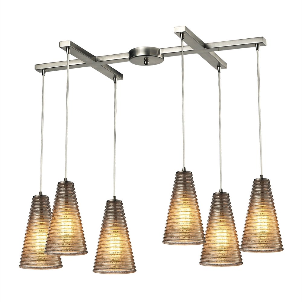 Ribbed Glass 6 Light Pendant In Satin Nickel And Mercury Glass, 10333 6. Picture 1