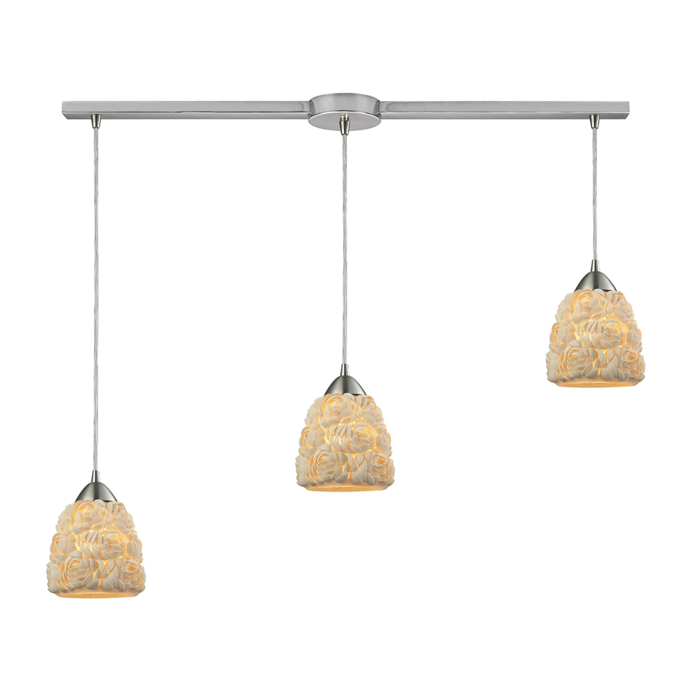 Shells 3 Light Pendant In Satin Nickel, 10414 3L. Picture 1
