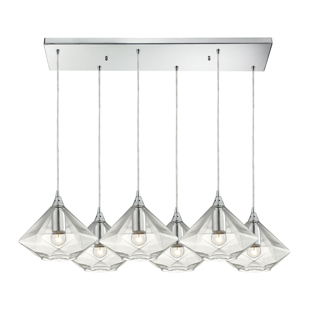Geometrics 6 Light Pendant In Polished Chrome, 10440 6RC. Picture 1