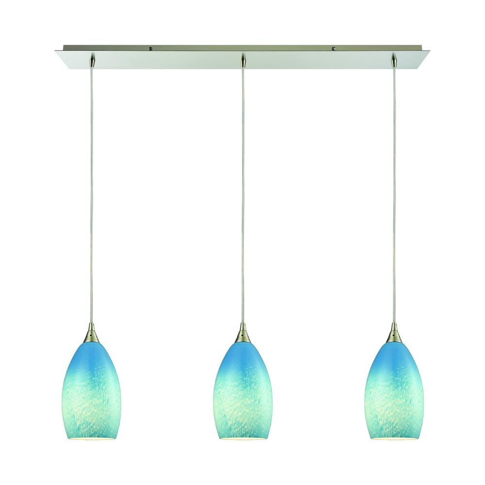 Earth 3 Light Pendant In Satin Nickel And Sky Blue Glass, 10510 3LP-SKY. Picture 1