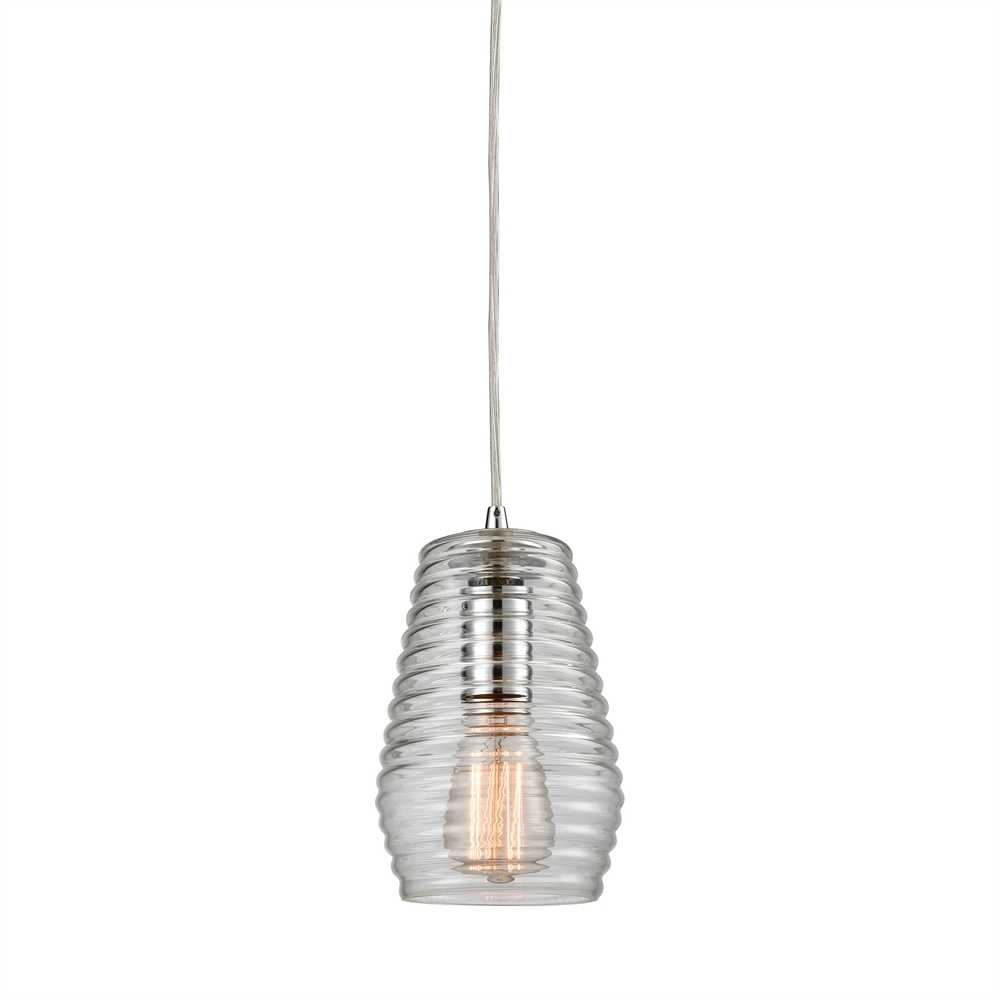 Ribbed Glass 1 Light Pendant In Polished Chrome. Picture 1