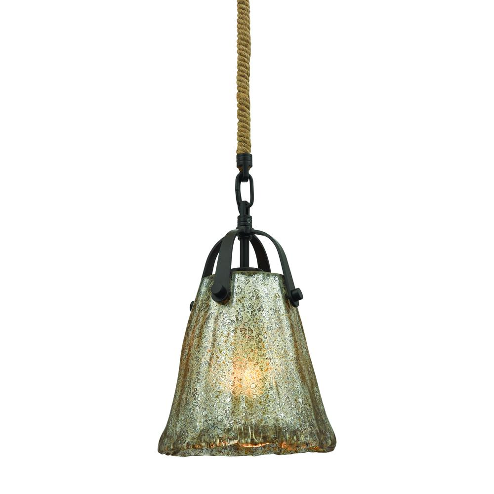Hand Formed Glass 1 Light Pendant In Oil Rubbed Bronze, 10631 1. Picture 1