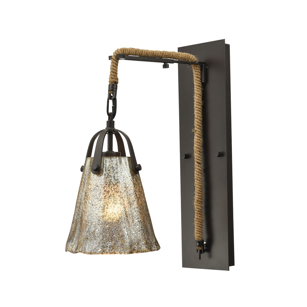 Hand Formed Glass 1 Light Wall Sconce In Oil Rubbed Bronze, 10631 1SCN. Picture 1
