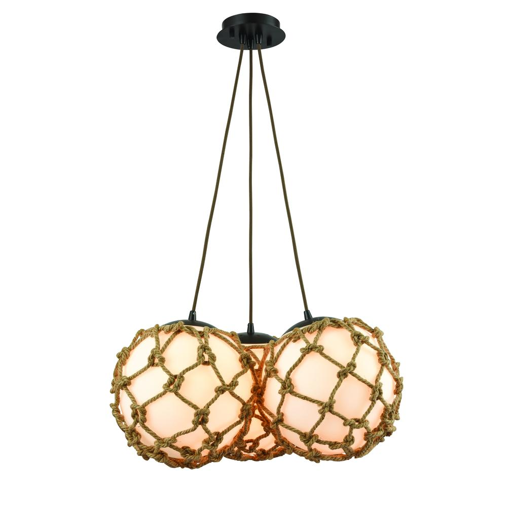 Coastal Inlet 3 Light Chandelier In Oil Rubbed Bronze. Picture 1