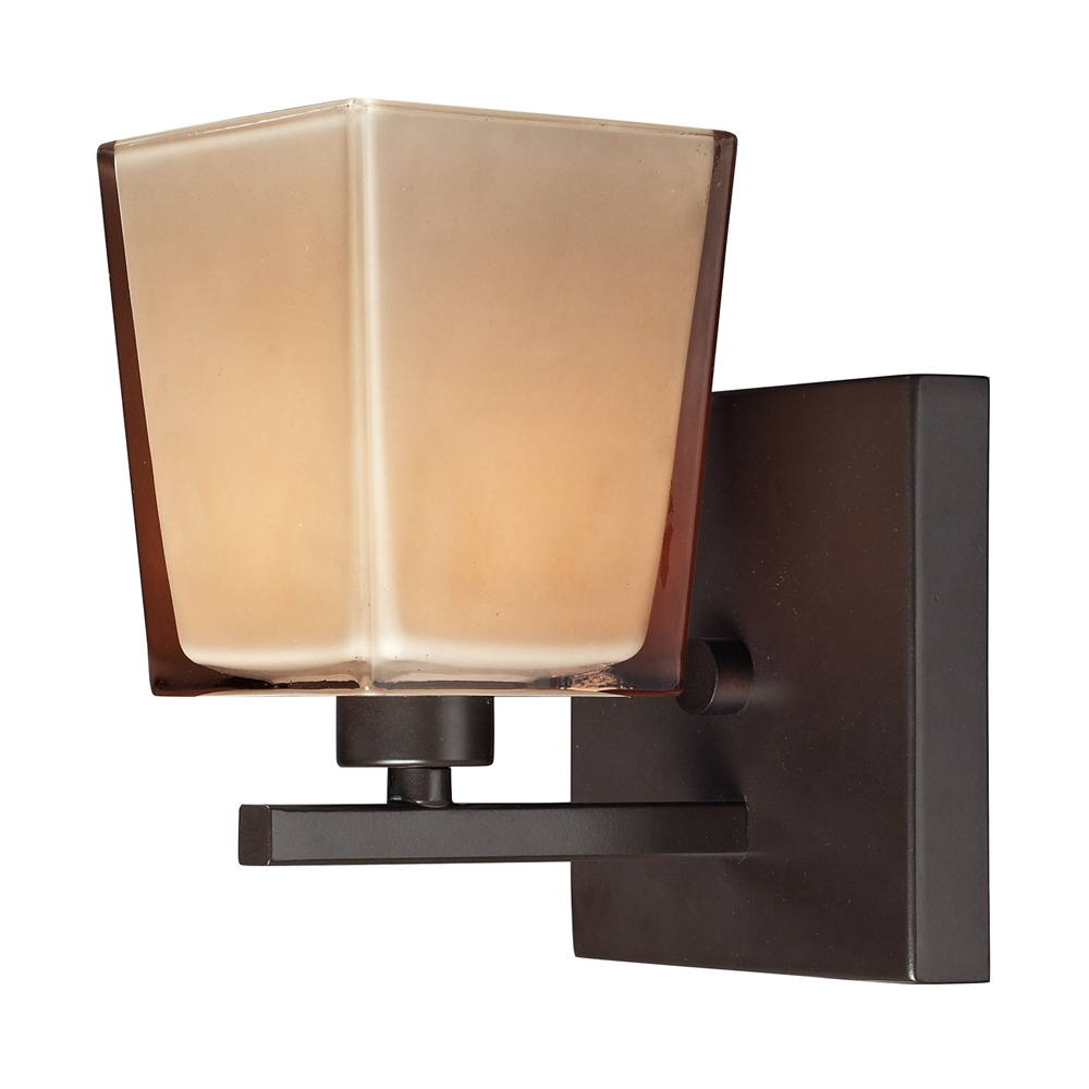 Serenity 1 Light Vanity In Oiled Bronze And Tan Glass