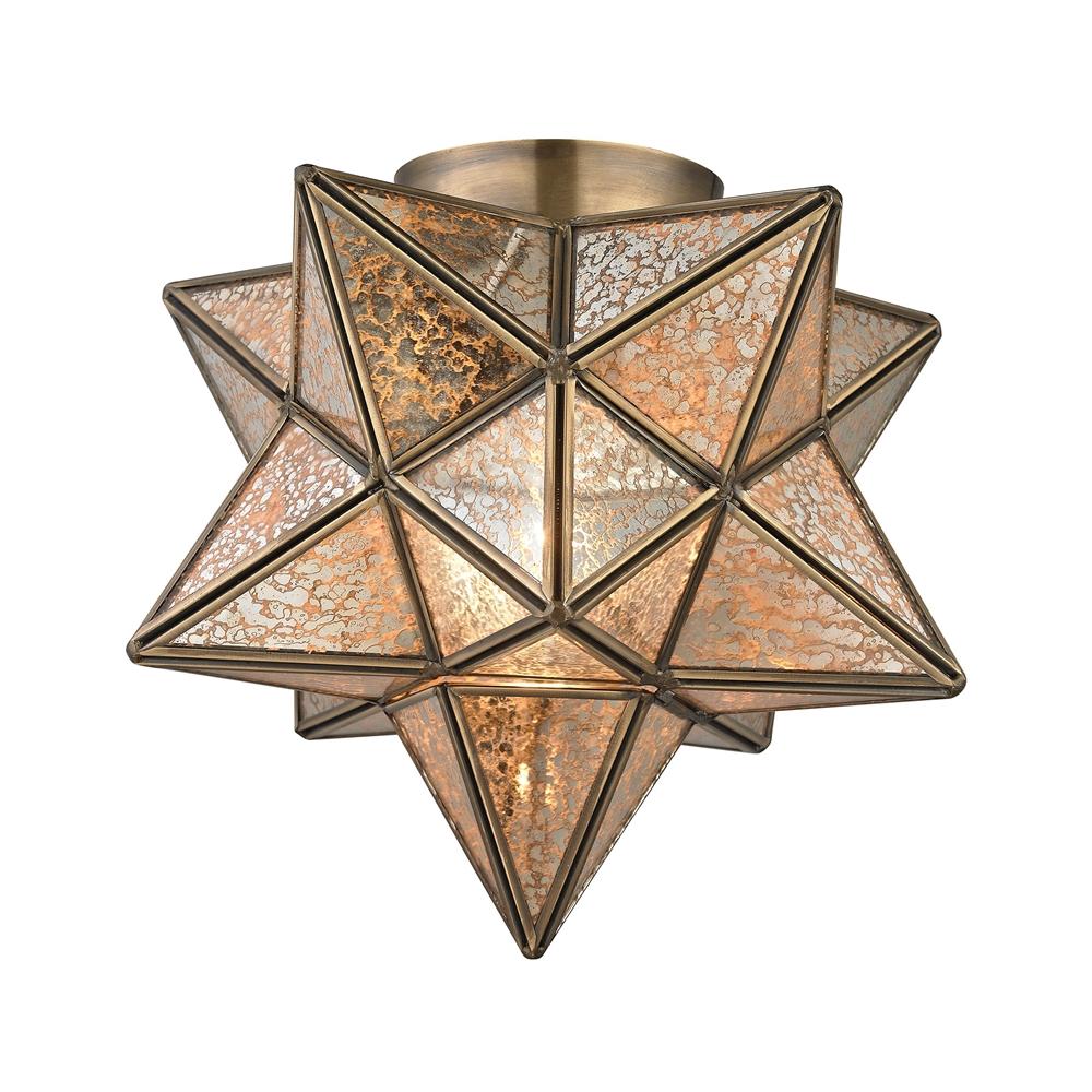 Sirius Gold 10-In Metal Flush Mount Wth Antiqued Mercury Glass. Picture 1