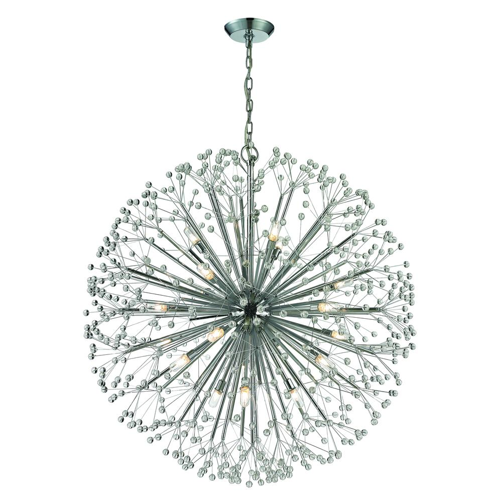 Starburst 19 Light Chandelier In Polished Chrome And Crystal. Picture 1