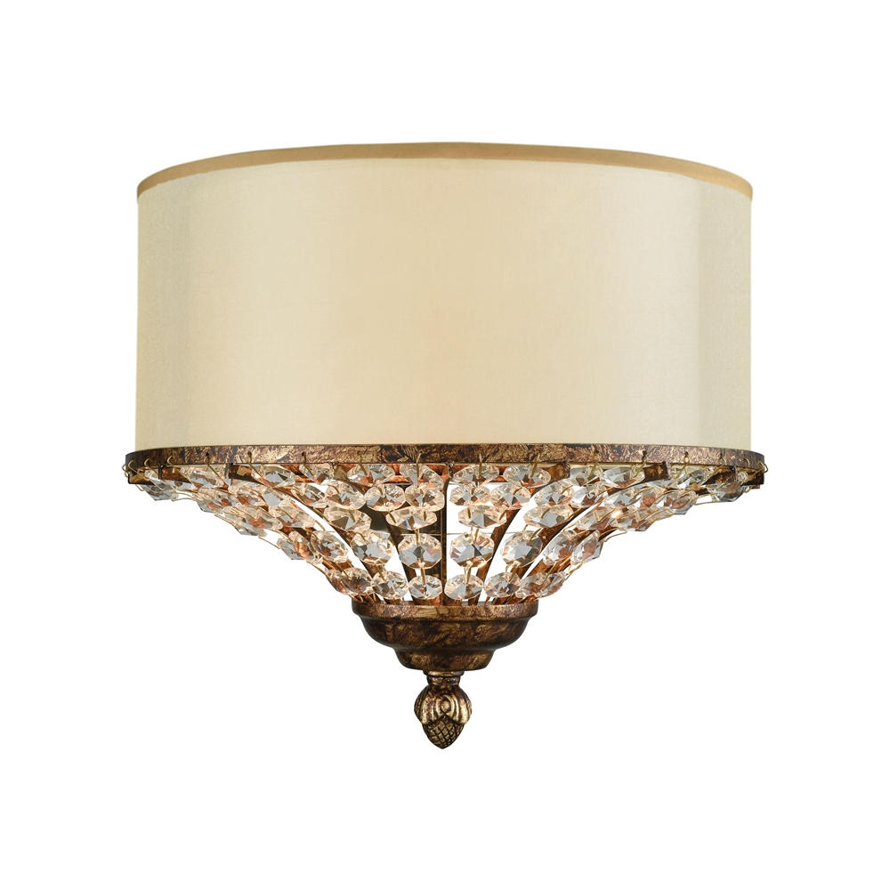 Crystal spring 2 light wall sconce in spanish bronze with cream crystal spring 2 light wall sconce in spanish bronze with cream fabric shade inside beige organza aloadofball Choice Image