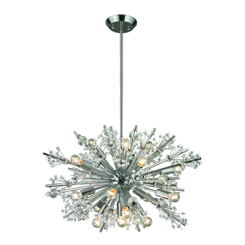 Starburst 19 Light Chandelier In Polished Chrome. Picture 1