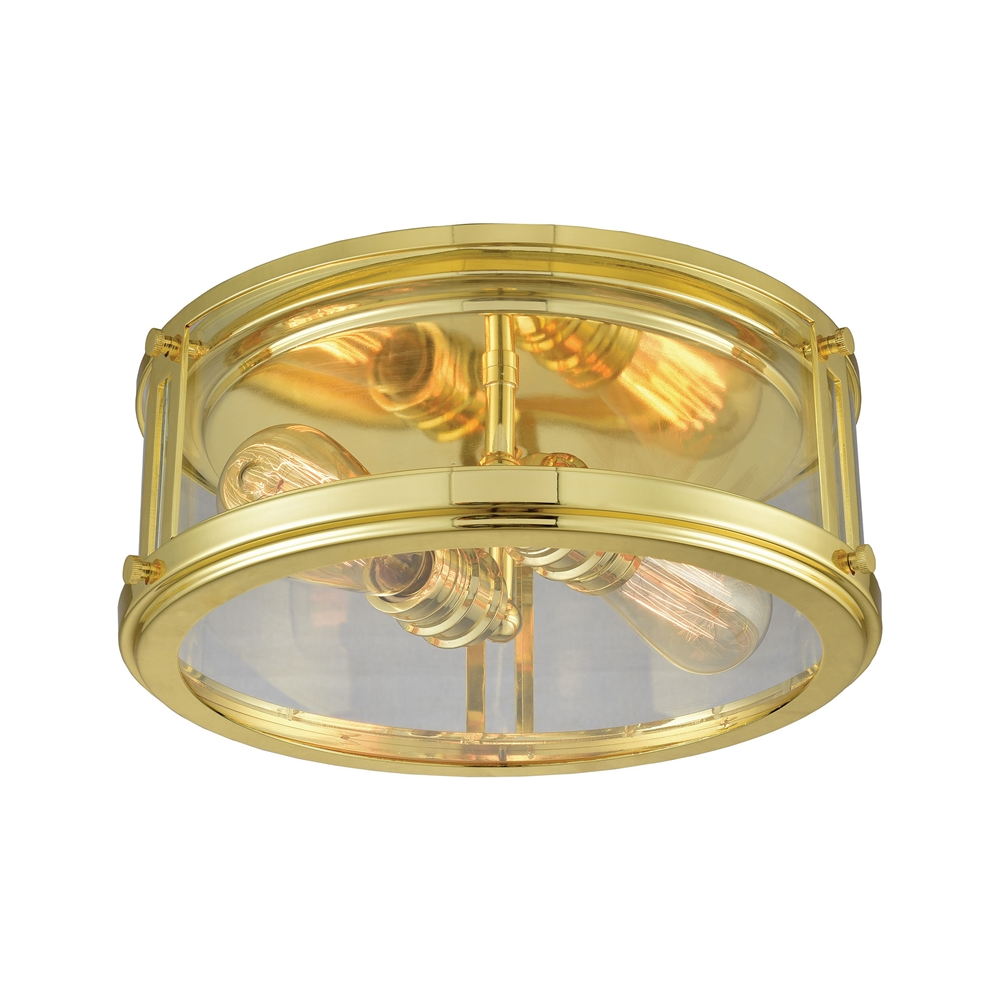 Coby 2 Light Flush In Polished Gold. Picture 1