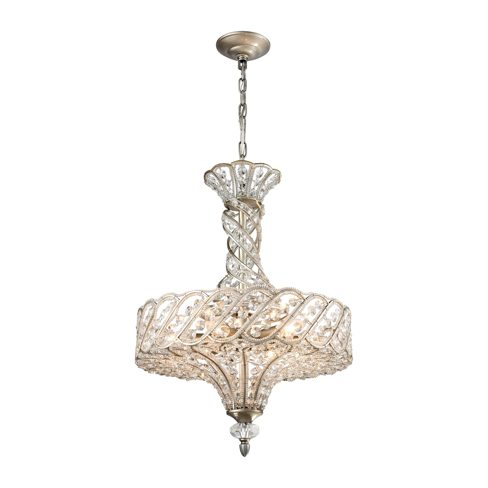 Cumbria 6 Light Chandelier In Aged Silver. Picture 1