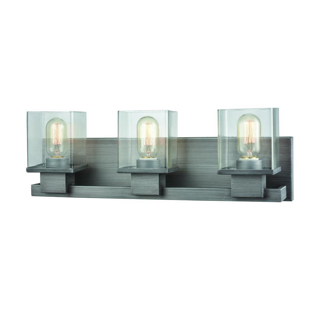 Elk Lighting Hamel: Hotelier 3 Light Vanity In Weathered Zinc With Clear Glass