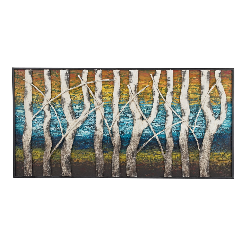 Queen lake white birch at dawn metal wall decor for Kitchen colors with white cabinets with metal tree wall art kohls