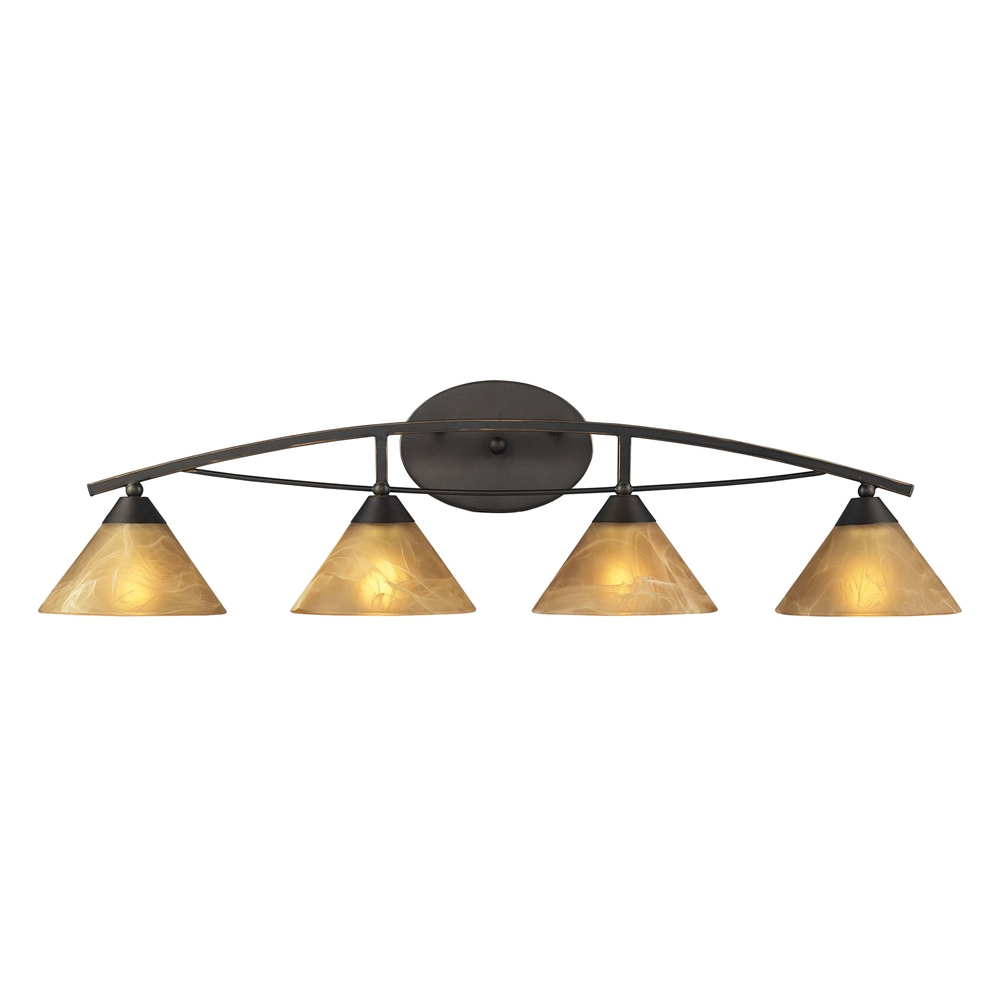Elysburg 4 Light Vanity In Oiled Bronze And Tea Stained Brown Glass. Picture 1