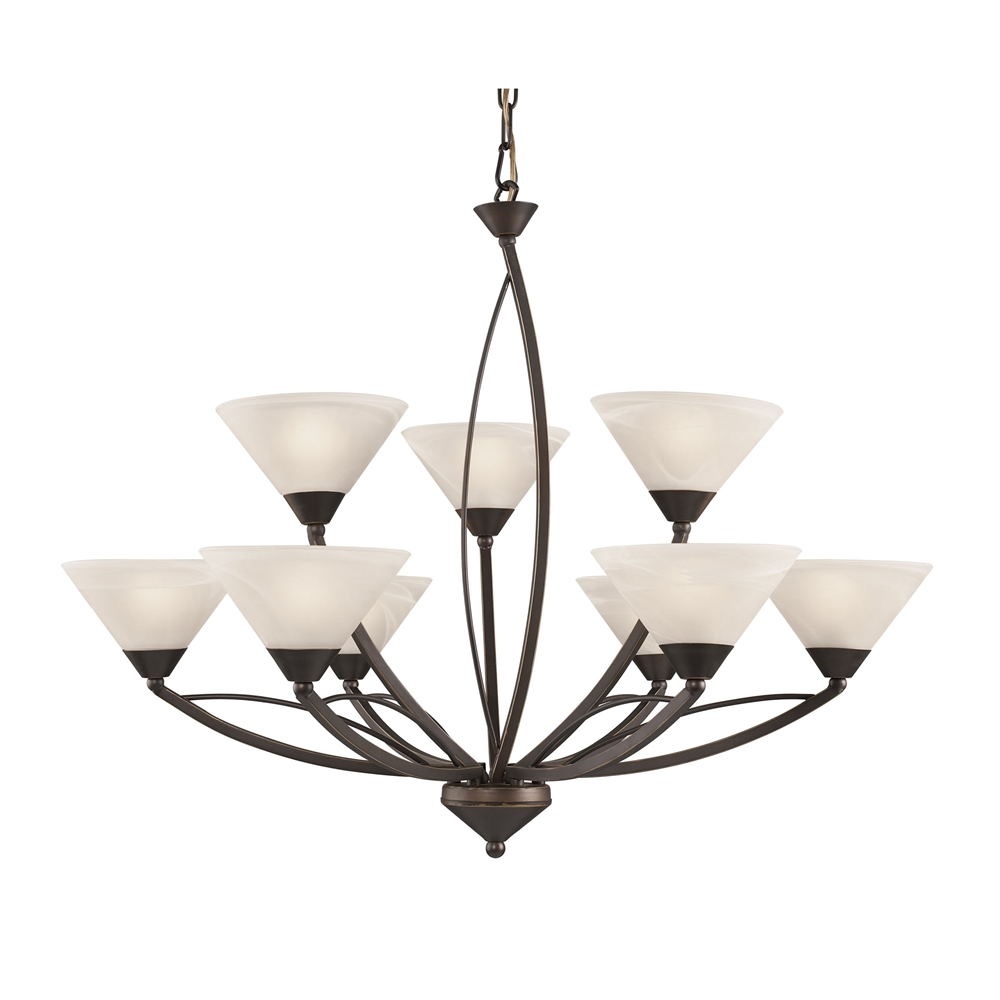 Elysburg 9 Light Chandelier In Oil Rubbed Bronze And White Glass. Picture 1