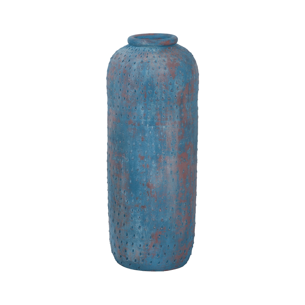 Rustic Blu Vase I In Distressed Blue. Picture 1