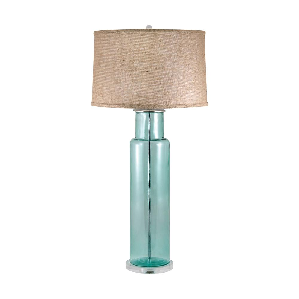 Recycled Glass Cylinder Table Lamp In Blue. Picture 1